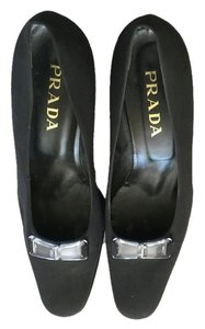Prada Black with Clear Buckle Pumps