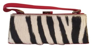Adrienne Vittadini Small Red and Zebra Hair Clutch