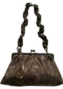 Stuart Weitzman Black Snakeskin Leather Shoulder Bag