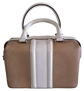 ShoeDazzle Satchel in Beige and White