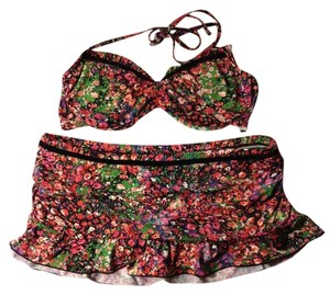 Kenneth Cole Reaction Kenneth Cole Floral Print Bikini w/ Velvet Trim and Ruching Detail