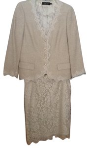 Teri Jon Teri Jon Tweed and Lace Skirt Suit.