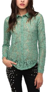 Kimchi Blue Lace See Through Urban Top Green