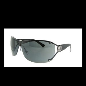 Gucci Gucci Black Wrap Around Shield Rhinestione Crystal Sunglasses