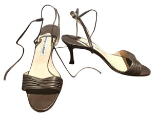 Manolo Blahnik Metallic Dark Bronze Sandals