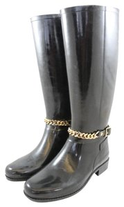 Burberry Ebersole Chain Rain Penny Lane Black Boots
