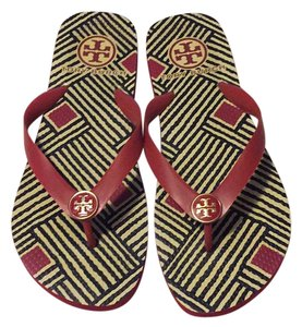 Tory Burch Red, Black, and Cream Sandals