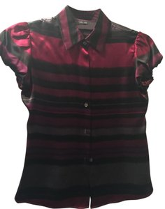 Theory Silk Jewel-toned Top cranberry multi