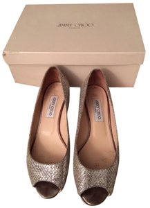 Jimmy Choo Woven Silver (Glitter Fabric) Wedges