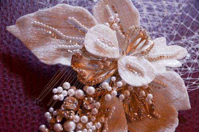 Item - Champagne/Gold Hairpiece and Ivory Birdcage with Crystals Hair Accessory