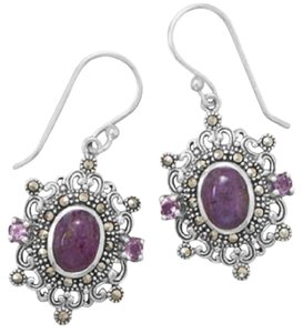 Other (New) Ornate Sterling Silver With Marcasite, Purple Turquoise And Amethyst Earrings