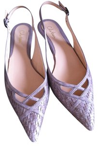 Cole Haan Pebbled Leather Pointed Toe Slingbacks grey Sandals