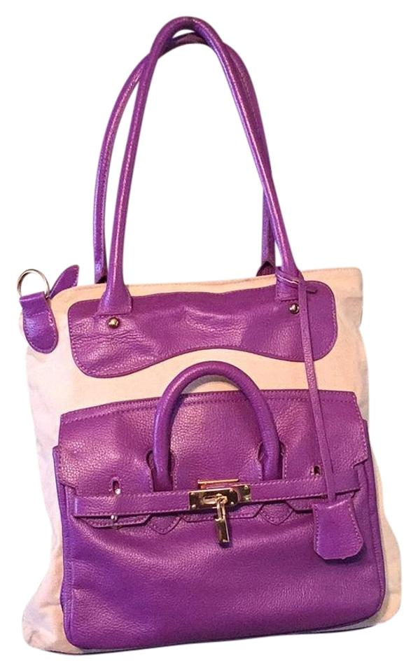 Beige And Purple Hobo Bag