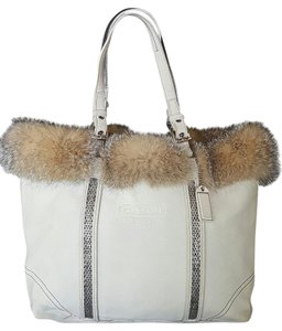 Coach Ltd Edition Fox Fur Suede Tote in Beige
