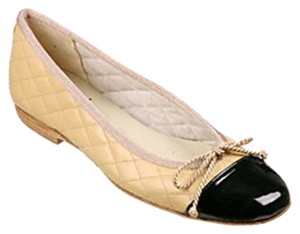 French Sole Quilted Patent Leather Two-tone Tan/Black Flats