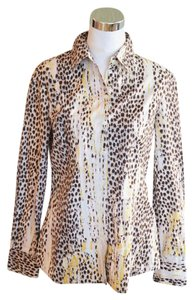 Just Cavalli Shirt Cotton Leopard Button Down Shirt White Multi