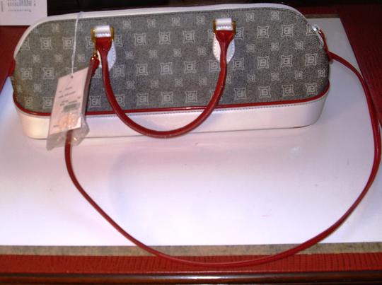 Laura Biagiotti Satchel in Black & white signature lettering on white base with Red Trim
