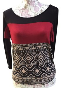 Papaya T Shirt Black burgundy multi