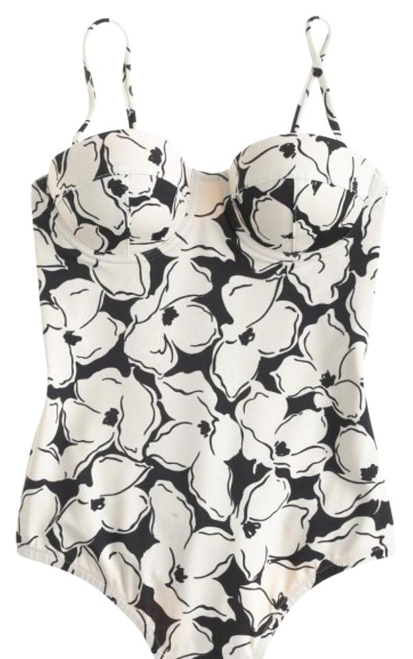 337e516987 J.Crew Black  White Inky Floral Underwire Swimsuit One-piece Bathing ...