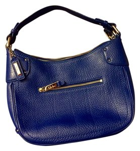 Cole Haan Leather Purse Gold Zippered Classic Royal Azure Shoulder Bag