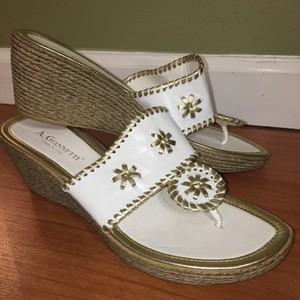 A. Giannetti White & Gold Sandals