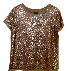 Talbots Sequins Shimmer Blouse Top Gold