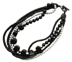 Max Mara Weekend Max Mara multi-strand black and white mixed bead necklace