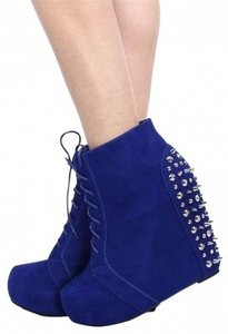 Camilla Studded Lace Manmade Zipper Style Cobalt Wedges