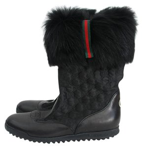 Gucci Leather Fur Black Boots