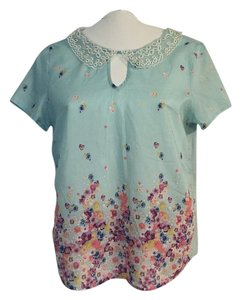 Hinge Spring Summer Collar Cotton Flower Top Blue