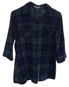 Derek Heart Button Down Shirt Blue & Green