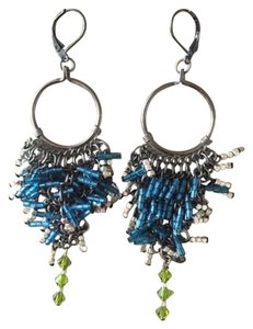 Beaded, dangle blue and silver earrings