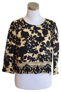 Chloé Floral Black Crop 3/4 Sleeve Top Beige
