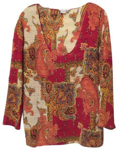 Alberto Makali Paisley Light Gauze Colorful Top Red, bright blue, yellow, orange, off-white +++