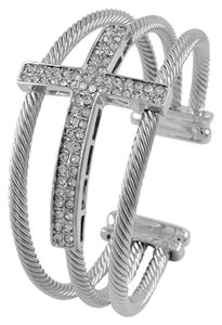 Aris Brand New Austrian Crystal Cross Triple Cable Cuff Bracelet
