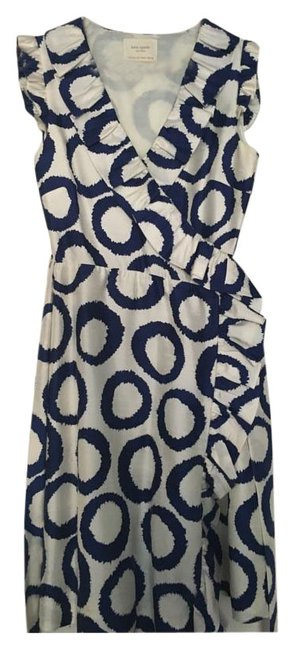 Item - Blue and White Ruffled Wrap Short Cocktail Dress Size 2 (XS)