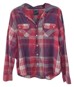 American Eagle Outfitters Button Down Shirt Pink and Purple