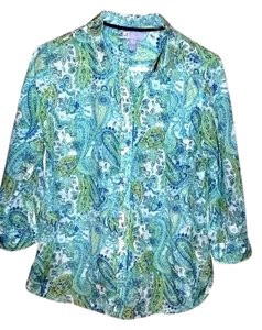 jcp Top Blue-Green-White