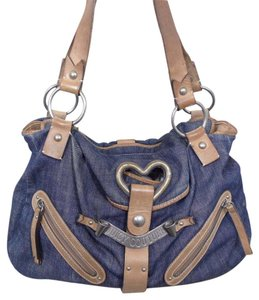 Juicy Couture Leather Denim Shoulder Tote in Pink