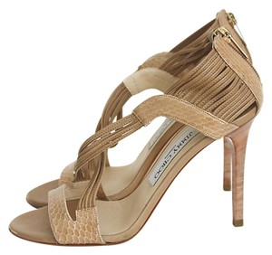 Jimmy Choo Leather Crisscross Strap Nude Sandals