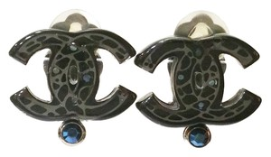 Chanel Authentic Chanel Black CC Mosaic Stone Clip on Earrings