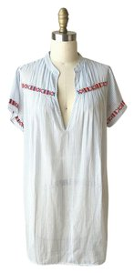 J.Crew short dress Blue Striped Embroidered White on Tradesy