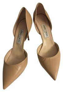 Jimmy Choo Leather D'orsay Size 10 Nude Pumps