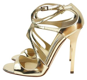 Jimmy Choo Mirror Leather Gold Sandals