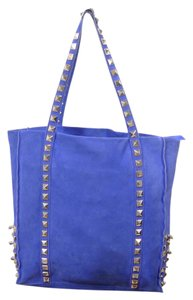 HOTEL PARTICULIER Leather Suede Studded Tote in BLUE