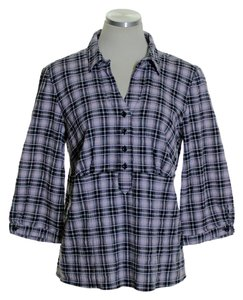 Christopher & Banks Popover Plaid Crinkled Top Black Pink