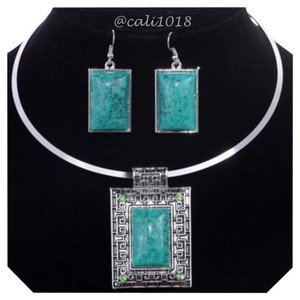 New Tibet Silver And Turquoise Choker And Earring Set