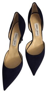 Jimmy Choo Size 10 Leather D'orsay Navy suede Pumps