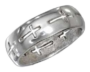 Unknown Sterling Silver Band Ring with Cross Cutouts
