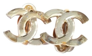 Chanel Authentic Chanel Gold CC Mirror Large Piercing Earrings